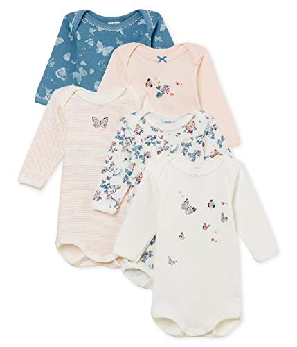 Petit Bateau Baby Girl's Long-Sleeved Bodysuits in Cotton in Gift Box - Set of 5 Sizes 3-36/M Style 47935 (Size 18 Month Style 47935 Girls)