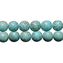 Blue Turquoise Stone Round 8mm Loose Beads for DIY Fashion Necklace Bracelet Earrings Jewelry Gift Craft Making Supplies One Strand 15 Inch Apx 46 Pcs