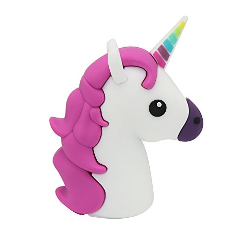 DBigness 3350mAh Cute Mini Size Purple Unicorn Portable Chargers Funny Lightweight Mobile Phone Charger Cartoon PVC External Battery Backup Pack Power Bank for Cell Phone