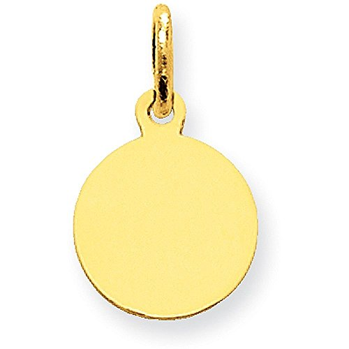 14K Yellow Gold Plain .009 Gauge Circular Engravable Disc Charm - (0.67 in x 0.39 in)