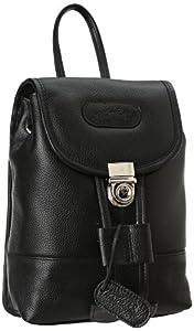 Leatherbay Leather Mini Backpack,Black,one size