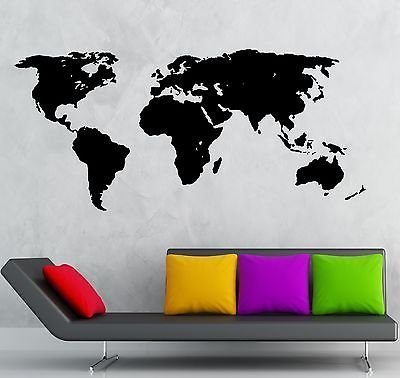 Amazon wall stickers vinyl decal world map travel geography wall stickers vinyl decal world map travel geography earth cool decor vs751 gumiabroncs Images