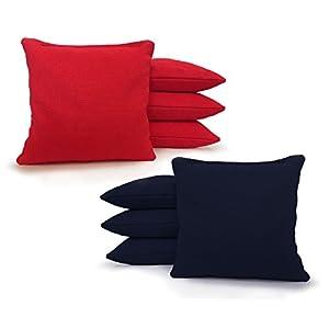 Regulation Cornhole Bags 17 COLORS Handmade Top Quality (Set Of 8) (Red/Navy Blue)