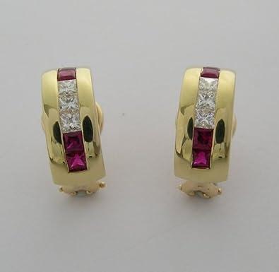 55e541639 Amazon.com: Tiffany & Co Estate 18K Ruby and Diamond Hoop Earrings: Jewelry