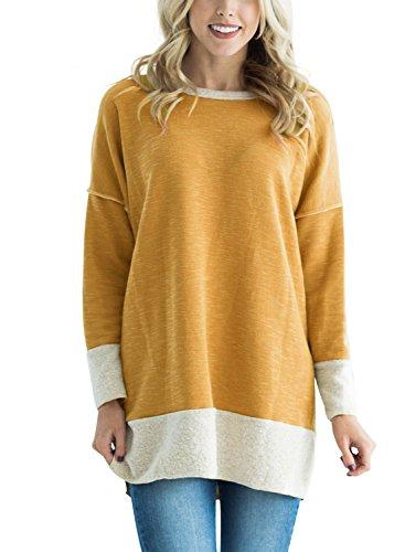 Hood T-shirt Yellow - HOTAPEI Women Casual Long Sleeve Crewneck Sweatshirt Loose Side Slit Tshirt Tunics for Women to Wear Legging Blouses Tops Mustard Medium