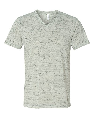 Bella + Canvas Unisex Jersey Short-Sleeve V-Neck T-Shirt - WHITE MARBLE - M - (Style # 3005 - Original Label)