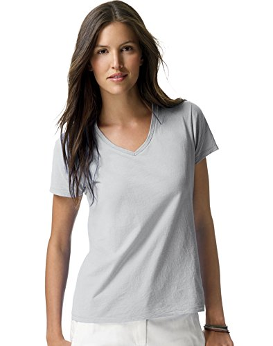 Hanes S04V Ladies 4.5 oz 100% Ringspun Cotton nano-T V-Neck T-Shirt Ash ()