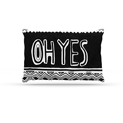 Kess InHouse Vasare Nar Oh Yes  Fleece Dog Bed, 50 by 60 , Black White
