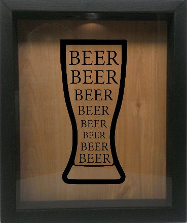 Wooden shadow box wine cork bottle cap holder 9 x11 for Beer bottle picture frame