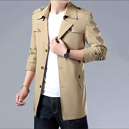 OJKYK Trench cappotto da uomo monopetto slim fit giacca casual manica lunga parka antivento softshell antivento XXL  xFPtA