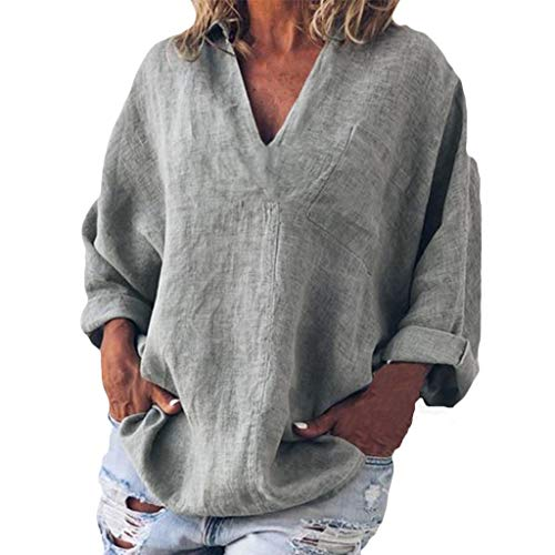 Sunhusing Womens Solid Color Short Sleeve T-Shirt Casual V-Neck Loose Long Sleeve Pocket Comfort Plus Size Top Gray