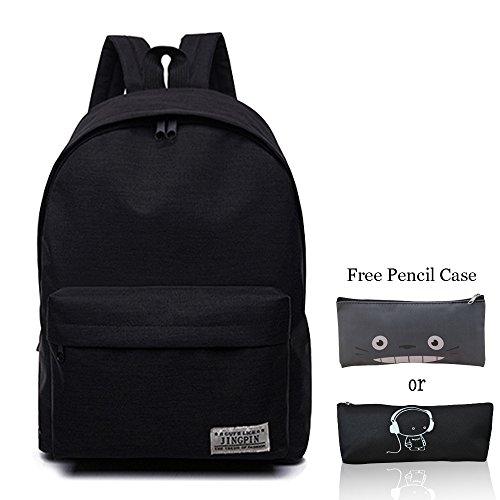 School Bag Canvas Book Bag School Backpacks With Pen Bag for boys girls (Black) (Backpack School Black)