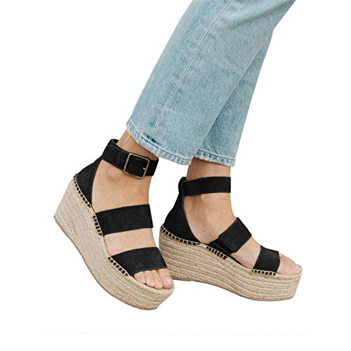 Syktkmx Womens Wedge Sandals Platform Summer Black Strappy Heeled Ankle Strap Espadrilles