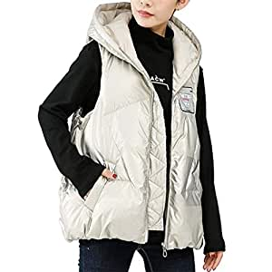 Womens Vest Lightweight Sleeveless Casual Full Zip Down Jacket, Winter Warm Hooded Outerwear with Pockets, Two Colors Optional (Color : White, Size : XL)
