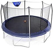 Skywalker Trampolines 15 Foot Jump N Dunk Round Trampoline with Enclosure-Basketball- Navy, SWOPJD15N