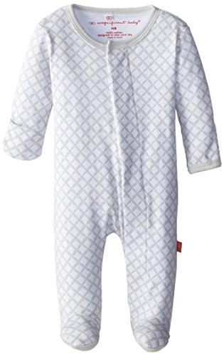 Magnificent Baby Unisex-Baby Newborn Unisex Diamond Footie, White Diamonds, 3 Months