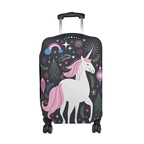 Cooper girl Fantasy Unicorn Flowers Travel Luggage Cover Suitcase Protector Fits 31-32 Inch