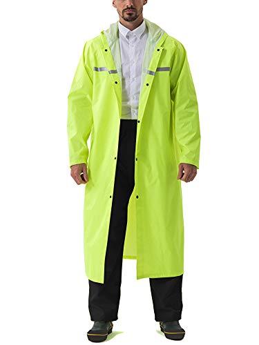 (Waterproof Jacket for Men with Hood Raincoats for Men Rain Ponchos Waterproof Shiny Green)