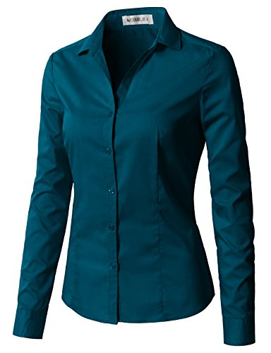 c Long Sleeve Cotton Simple Button Down Shirt Teal M ()