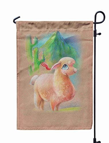 Shorping Easter Garden Flag, 12x18Inch Colored Pencil Illustrations Paper Llama Mountain Cacti for Holiday and Seasonal Double-Sided Printing Yards Flags