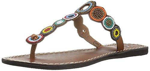 MIA Women's Apache Flat Sandal, Bright Multi, 8 M US (Beaded Leather Mules)
