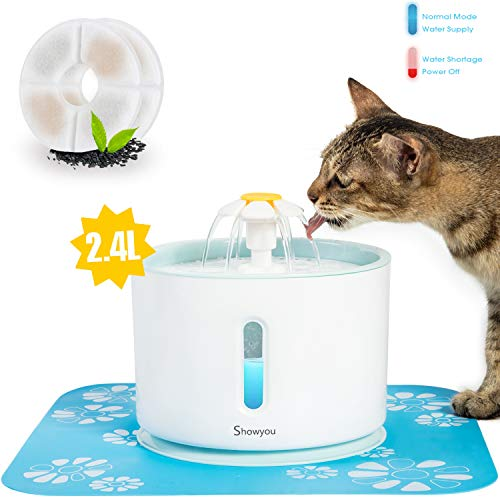 Showyou Cat Water Fountain, 80oz/2.4L Water Level Window with LED Light Automatic Flower Pet Fountain Dog Water Dispenser with 2 Replacement Filters & 1 Silicone Mat for Multiple Pets