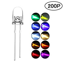 DiCUNO 200pcs 5mm LED Light Emitting Diodes 2pin Diffused Assorted Kit Box Color UV/Red/Yellow/Green/Blue/Warm White/White/Pink/Orange/Chartreuse (10 Colors x 20pcs)