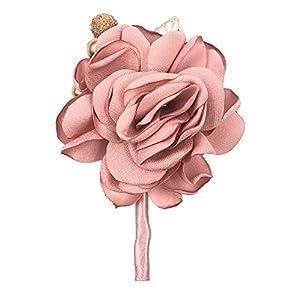 Abbie Home Classic Boutonnière for Prom Party Wedding Ball Event Silk Flower Golden Jewlry Décor (Boutonnière, Dusty Pink) 99