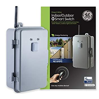 Image of Home Improvements GE Enbrighten Plus Heavy Duty 40 Amp Smart Switch, Indoor/Outdoor Rated 120-277V, Energy Monitoring, Range Extender, Zwave Hub Required, Works with SmartThings, Wink, Alexa, 14285, Z-Wave 120-277VAC