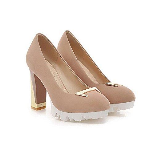 Beige Slip Tacón Alto on Puntera Charol Redonda nbsp;de nbsp;Tacón PU Mujer Zapatos Allhqfashion wxq477
