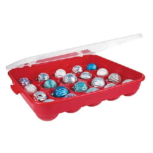 - Sterilite Red Holiday Ornament Storage Container Organizer Case- Holds 20 (3.5
