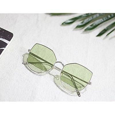 LXKMTYJ Marine sépia lentille claire tendance UV lunettes cat's eye circle lunettes noires, et l'argent puce verte