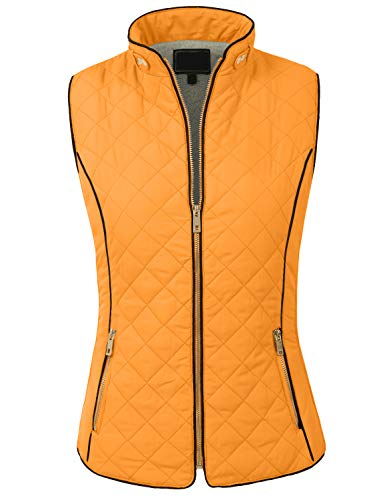 (NE PEOPLE Womens Lightweight Quilted Zip Up Stand Collar Padded Vest)