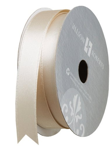 Jillson Roberts 5/8-Inch Double Faced Satin Ribbon Available in 21 Colors, Ivory, 6 Spool-Count (FR0919)