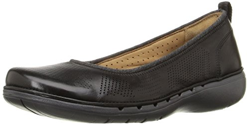 CLARKS Womens Un Elita Flat, Black Leather, 5.5 M US