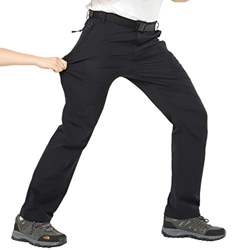 MIER Men's Hiking Pants Lightweight Stretchy Cargo Pants with Side Elastic Waist, 5 Large YKK Zipper Pockets, Quick Dry, Black, M ()