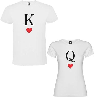 DALIM Pack de 2 Camisetas Blancas para Parejas, K y Q, Negro/Rojo: Amazon.es: Ropa y accesorios