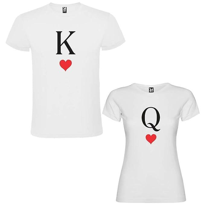 Pack de 2 Camisetas Blancas para Parejas, K y Q Negro (Mujer Tamaño L