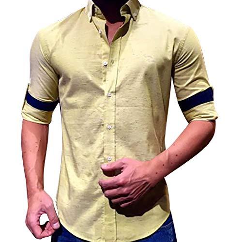 LEXUPA Men's Baggy Cotton Linen Solid Long Sleeve Button Retro T Shirts Tops Blouse Khaki ()