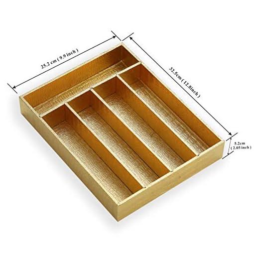 Kitchen Berglander Flatware Golden Organizer, Silverware Organizer Wood Silverware Tray Cover with Golden Surface, BPA Free… silverware organizers
