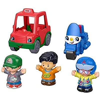 Fisher-Price Little People Share & Care Vehicle Gift Set with Police Motorcycle and Pizza Delivery Car: Toys & Games