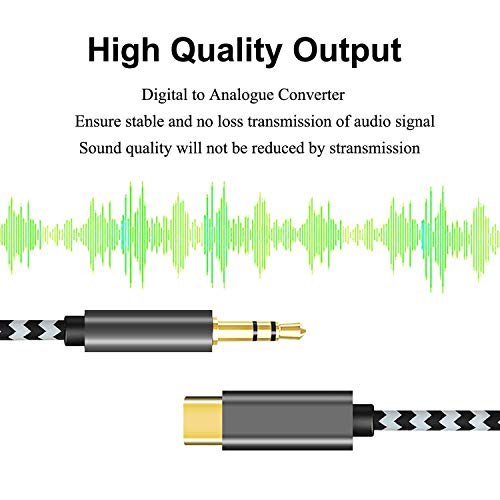USB C to 3.5mm Aux Audio Cable, Vcddom [3.94FT] Premium Nylon Type C Adapter to 3.5mm Headphone car Aux Cord Compatible with iPad Pro 2018, Google Pixel 4 3 2 XL, Galaxy S20 S10 Note10 (Zebra)