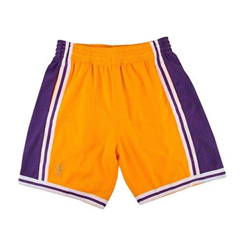 (Mitchell & Ness Mens Lakers Swingman Shorts Gold/Purple Size L)