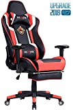 Ficmax Ergonomic Gaming Chair Racing Style Office Chair High-Back Large Size Executive Chair PC Computer Desk Chair with Lumbar Massage Support and Footrest(Black/Red)