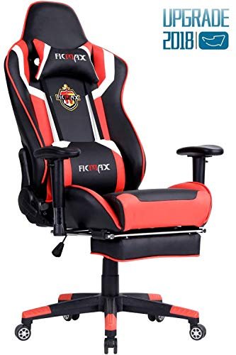 Ficmax Ergonomic Gaming Chair Recliner Computer Chair for Gaming Racing Style Office Chair PU Leather Ergonomic E-Sports Chair Height Adjustable Gaming Desk Chair with Massage Lumbar Support Footrest