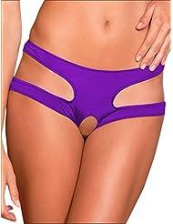 Qiufeng Womens Sexy Butt Plug Crotchless Panties Open Crotch Underwear Sex Flirt