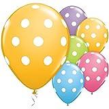 ocballoons Palloncini Colorati Pois Bianchi - addobbi e Decorazioni per Feste Compleanni, Battesimi, comunioni, Matrimoni - Confezione da 12 pz