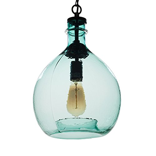 CASAMOTION Wavy Hammered Hand Blown Glass Pendant Light, 1 hanging Light, 11'' diameter, Sea Green (Bedroom Fixtures Light Pendant)