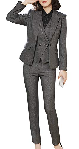 Women's Three Pieces Office Lady Blazer Business Suit Set Women Suits for Work Skirt/Pant,Vest and Jacket (Grey-8803, M)
