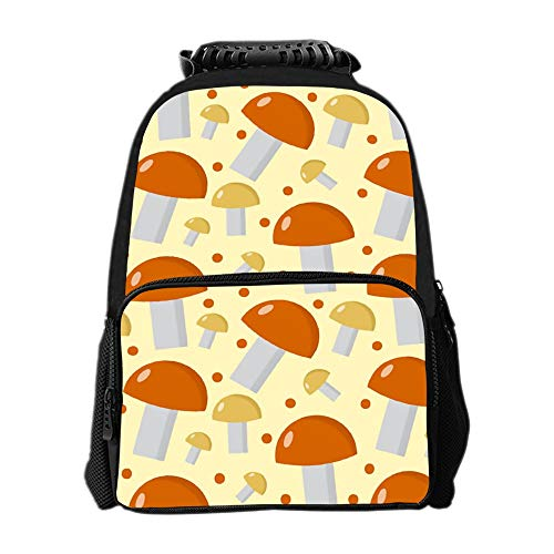 SARA NELL Mushrooms Pattern Boletus Edulis Endless School Backpacks For Girls Kids Elementary School Bags Bookbag